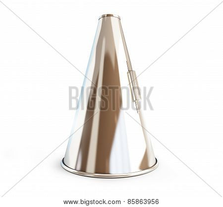 Metallic Megaphone On White Background