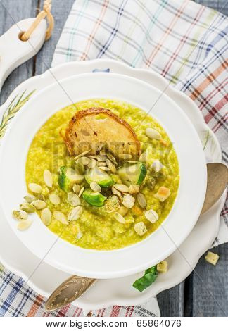 Thick vegetable soup puree with Brussels sprouts