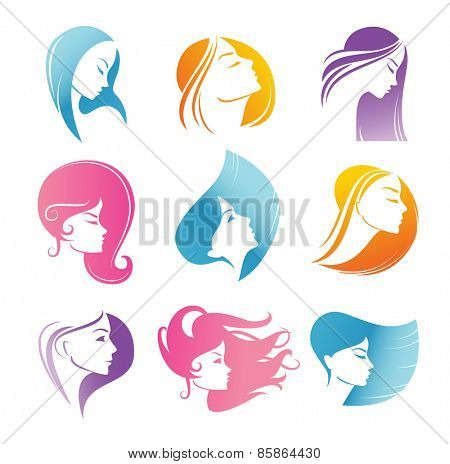 Girls portrait  - vector silhouette icons.