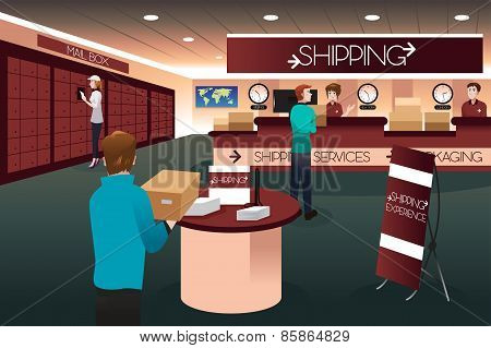 Scene Inside A Shipping Store