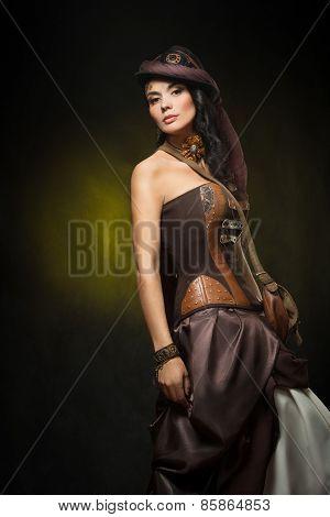 Portrait of a beautiful steampunk woman