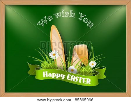 Easter Greeting Card With Fresh Grass And Ears Of Bunny