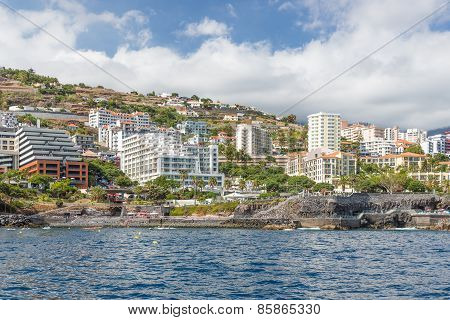 Seascape Coastline Madeira Island With Modern Hotels Of Funchal
