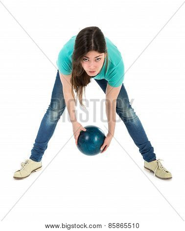 Woman Is Throwing A Bowling Ball At A Simplistic Way