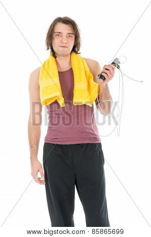 Fitness Man With Yellow Towel And Skipping Rope