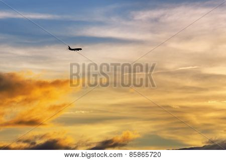Airplane and a sunset