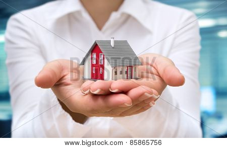 realtor deliver house - real estate concept