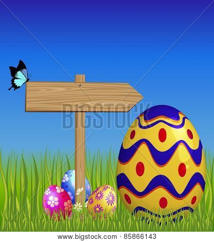 Wooden Pointer And Easter Eggs