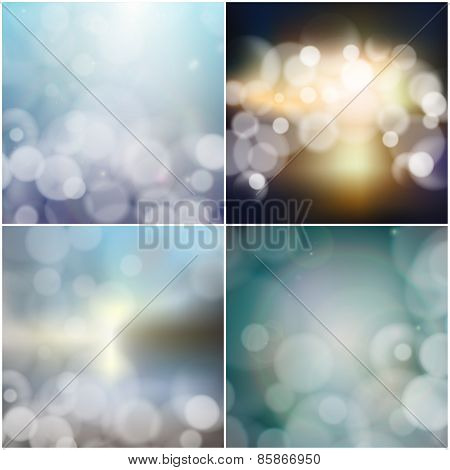 Big set of blurry backgrounds with bokeh effect. Abstract vector illustration