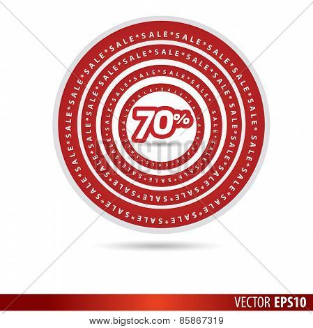 Big Sale Tags With Sale 70 Percent Text On Circle Tags