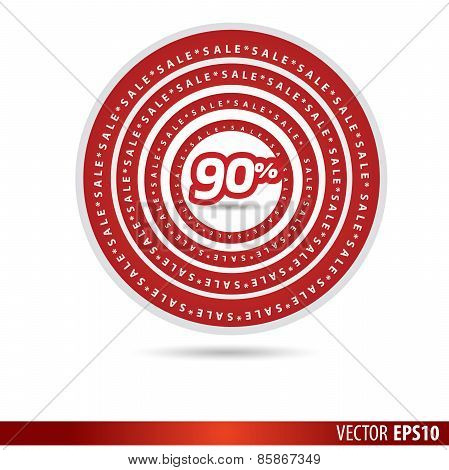 Big Sale Tags With Sale 90 Percent Text On Circle Tags