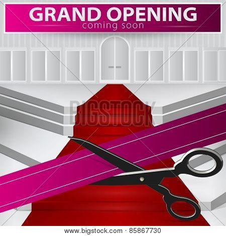 Shop Grand Opening - Cutting Purple Ribbon. Vector , Eps 10.