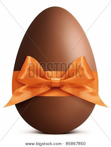 Easter Chocolate Egg With Orange Ribbon Bow