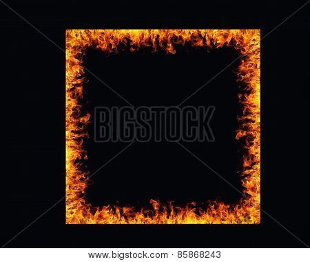 Fire Flames Frame On Black Background