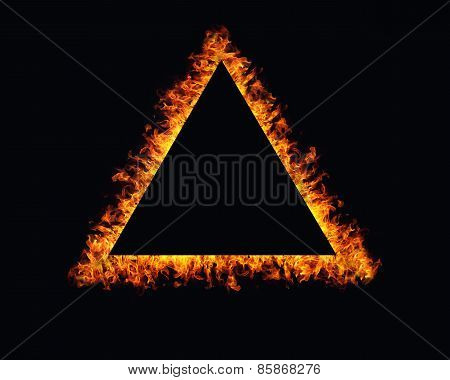 Triangle Fire Flames Frame On Black Background