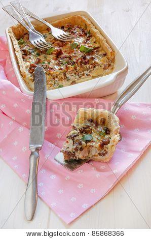 Homemade Mushroom Pie In White Baking Dish.