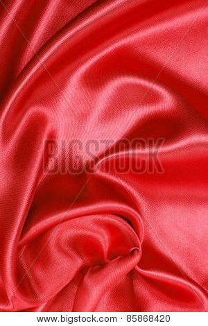 Smooth Elegant Red Silk Or Satin As Background