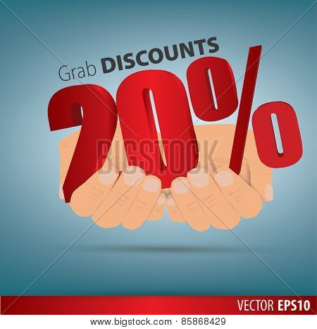 Grab Discounts. Hands Hold 20 Percent Discount. Vector Banner Discount Of 20 Percent. Eps 10