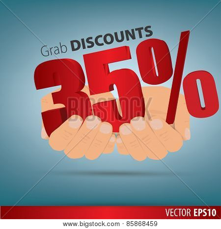 Grab Discounts. Hands Hold 35 Percent Discount. Vector Banner Discount Of 35  Percent. Eps 10