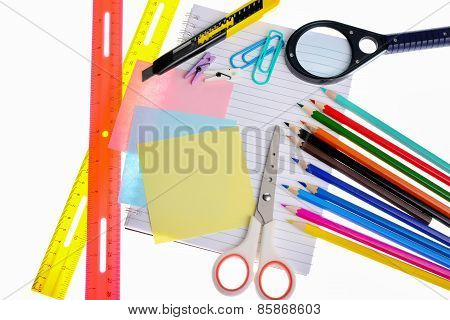 Variety Of Stationery Items Isolated On White Background