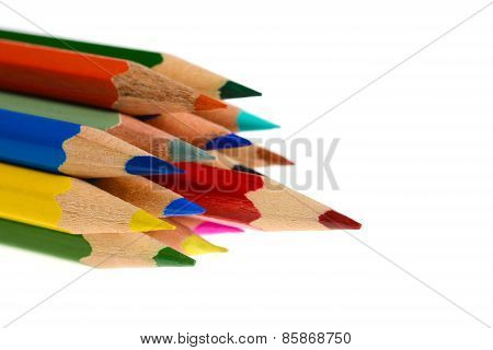 Group Of Coloring Crayons Isolated In White Background