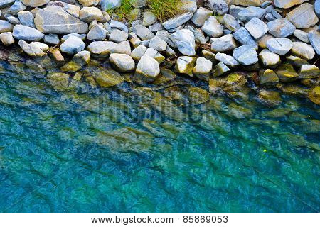 Coastal Stones Trough Clear Blue Water
