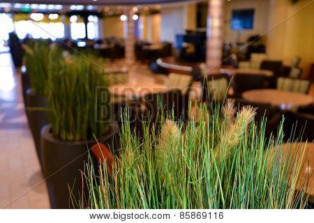 Elegant Restaurant Dining Space, Green Grass
