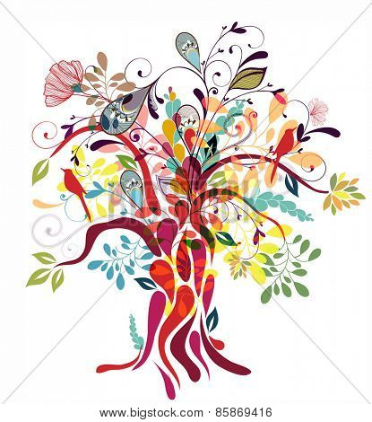 Abstract floral tree illustration