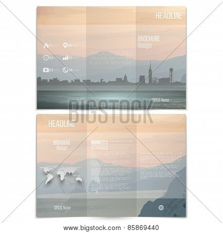 City and sea landscape. Brochure, tri-fold flyer or booklet for business. Modern trendy design vecto