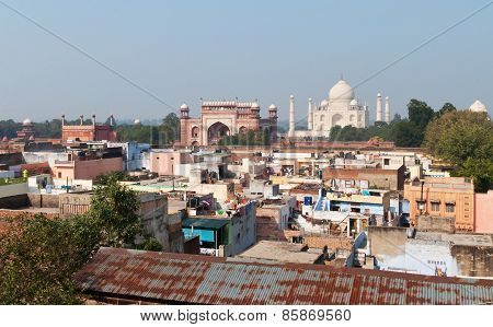 View Of Taj Mahal From The Roof Of Taj Ganj