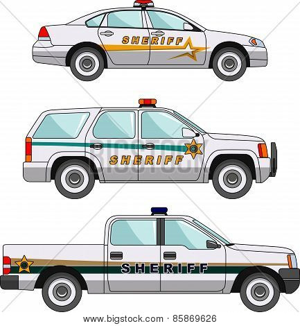 Sheriffs car on a white background in a flat style