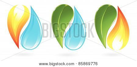 Set of fire, water and plant icons