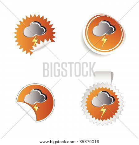Sticker Weather Forecast Cloud And Lightning Vector