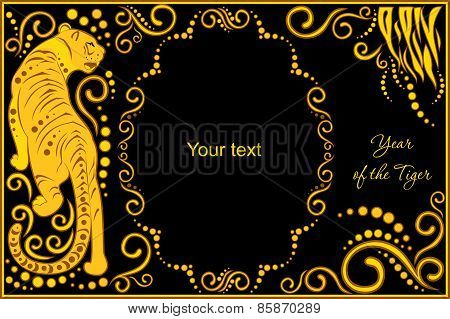 Vector Template With Sign Chinese Horoscope - Tiger.eps