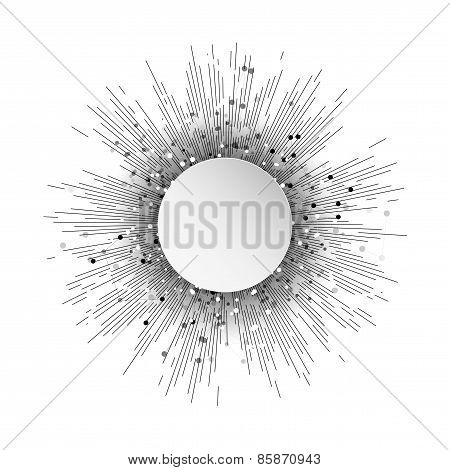 Abstract circle banner with vintage style star burst, retro element for your vector design, abstract