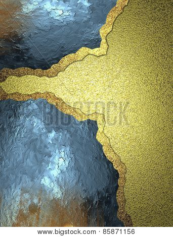 Template For Design. Layout Of Blue Metal Plates On A Gold Background