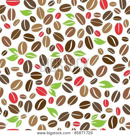 Coffee beans with leaves seamless pattern