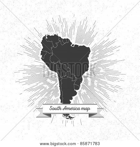 South america map with vintage style star burst, retro element for your design