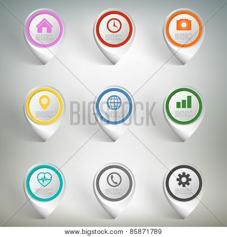 Pointer marks set. Colorful icon templates on gray background, infographic business vector elements