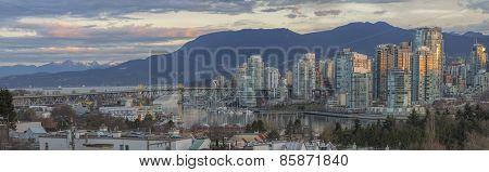Vancouver Bc Skyline With Granville Island Bridge