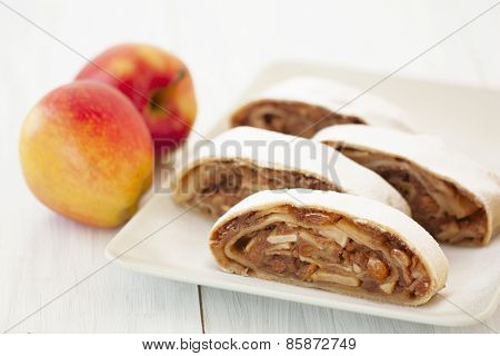 Sliced Into Pieces Apple Strudel And Fresh Apples