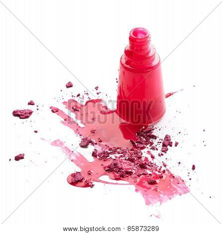 Pink Nail Polish With Eye Shadow