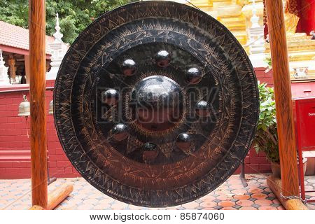 Thai traditional gong or tam-tam in Buddhist temple