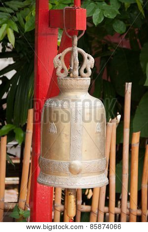 Buddhist bell in Wat Phan Tao, Chiang Mai, Thailand