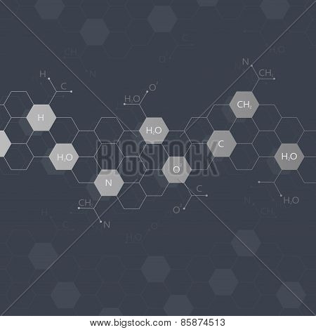 Dna molecule on black background. Graphic background for your design and your text .Vector Illustrat