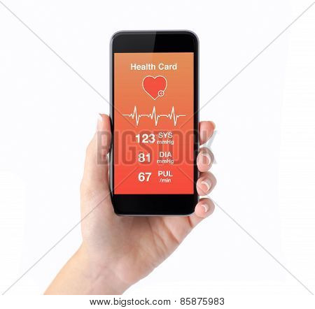 Isolated Female Hand Holding A Phone Health Card Monitoring