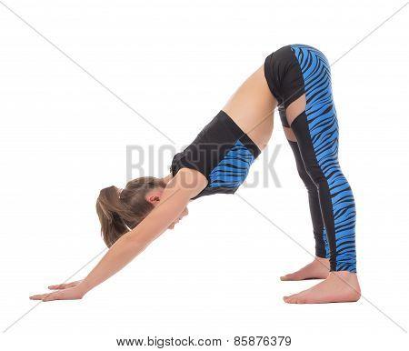 Flexible girl training, isolated on white