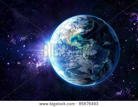 planet in cosmos - Usa view - America