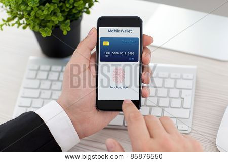 Businessman Holding Phone With Fingerprint For Online Shopping
