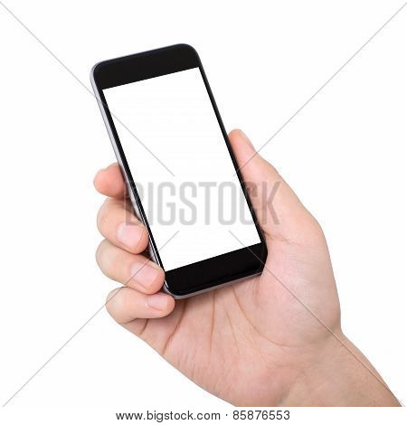 Man Hand Holding A Phone With Isolated Screen